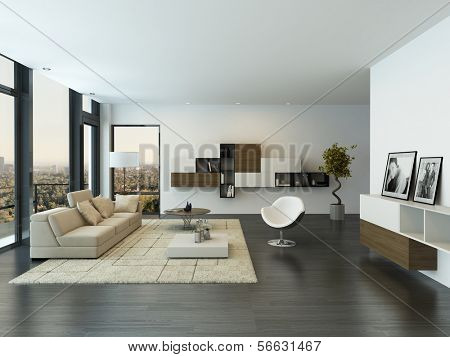 Contemporary living room loft interior