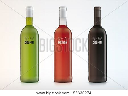 Set of vector white, rose, and red wine bottles for new design