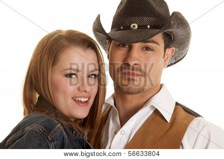 Couple Close Ehads Cowboy Hat Looking