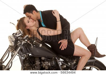 Couple Lay On Motorcycle Kiss Neck