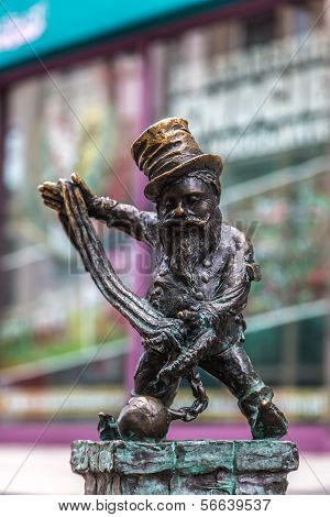 Sculpture Of Gnome From Fairy-tale In Wroclaw