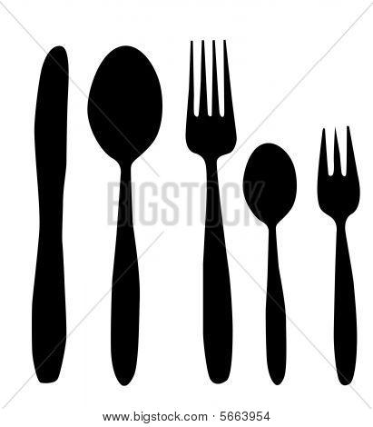 cuchara, tenedor y cuchillo vector ilustración blanco y negro