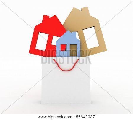 3d model house symbol set in a paper shopping bag