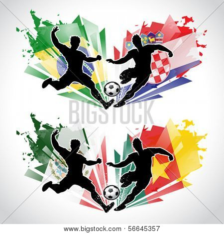 Vector illustration of soccer players representing different countries while tackling the ball