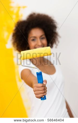 African American Woman With A Paint Roller