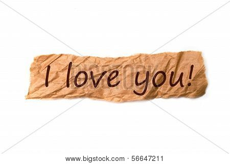 I Love You Title On Piece Of Paper