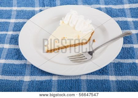 Key Lime Pie On Plate With Fork