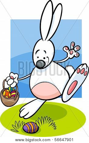 Bunny And Easter Eggs Cartoon Illustration
