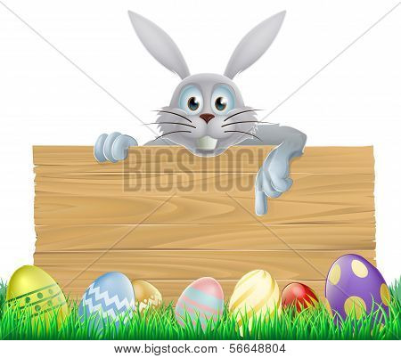 Eggs And Easter Bunny Sign