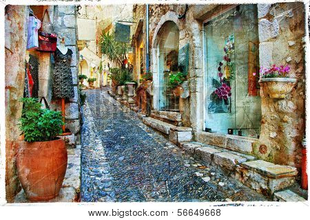 charming villages of Provance, France - artwork in painting styl