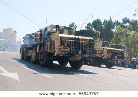 BAKU, AZERBAIJAN - JUNE 26, 2011 : Army Day Military Parade in Baku, Azerbaijan on June 26, 2011.