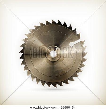 Circular saw blade, old style vector