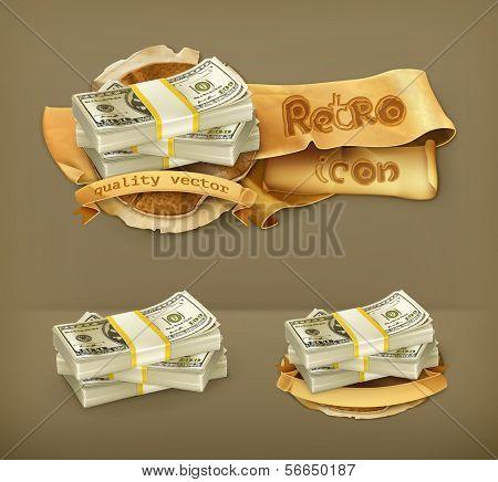Pilha de dinheiro, ícone do vetor