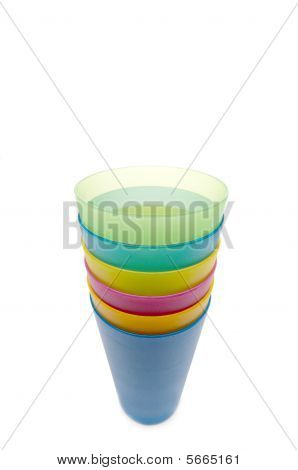 Vertical Stack Of Colorful Plastic Cups