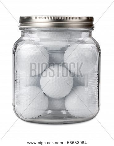 Golf Balls In A Jar Isolated