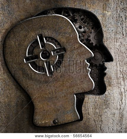 Human head with target mark on metal plate