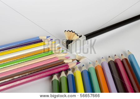 Colorful Pencil on white background