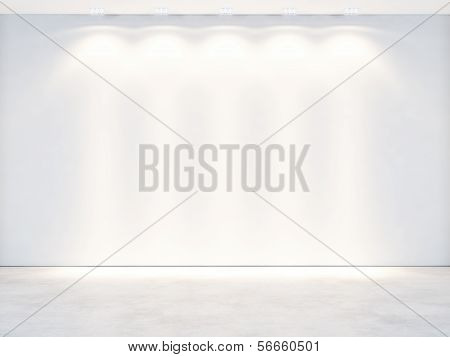 white wall with spotlights