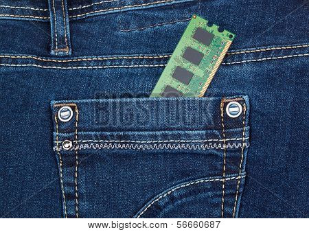 Ddr2 Memory Module In A Pocket Of Blue Jeans