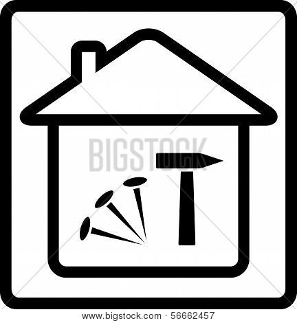 icon with house, nails and hammer