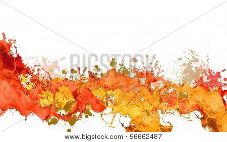 Background image with colorful splashes on white backdrop
