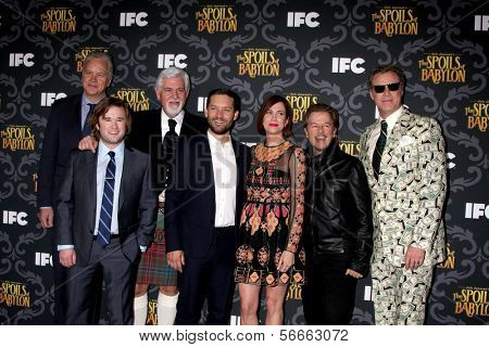 "LOS ANGELES- JAN 7: Tim Robbins, Haley J Osment, Steve Tom, Tobey Maguire, Kristen Wiig, David Spade, Will Ferrell at the ""The Spoils Of Babylon"" Screening at DGA on January 7, 2014 in Los Angeles, CA"