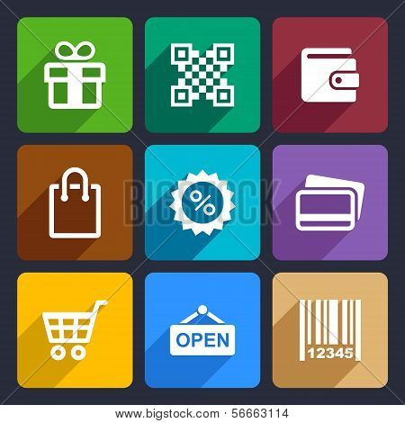 Shopping Flat Icons Set 35