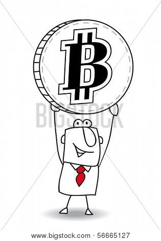 the business man is holding a bit coin in his hands
