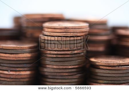 Stacks of American cents