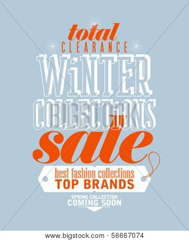 Winter collections sale typographic design in retro style.