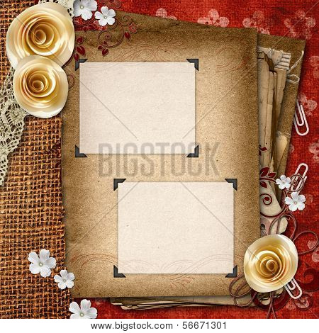 Vintage Album With Old Paper Shits, Roses,  Lace