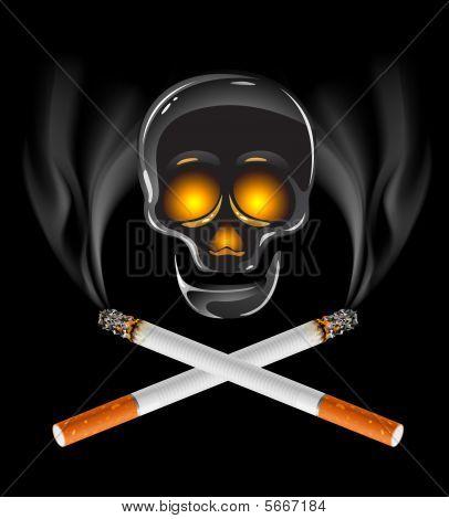Ctross von Zigaretten rauchen Konzept mit Schädel