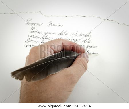 Hand with feather