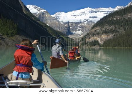 Paddling in Lake Louise