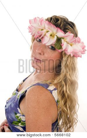 sexy older woman floral head dress and clothes