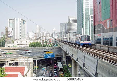 Skytrain near Phloen Chit Station