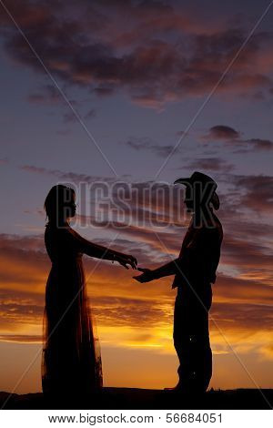 Couple Cowboy Almost Hold Hands Silhouette