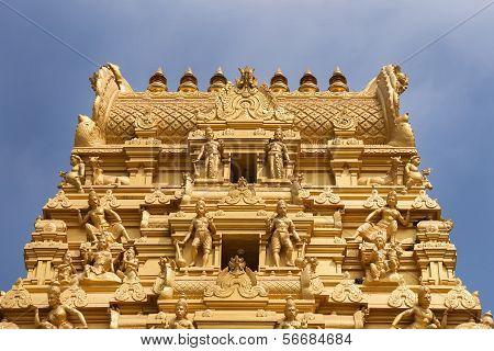 Top Of Golden Tower At Sri Nageshwara In Bangalore.