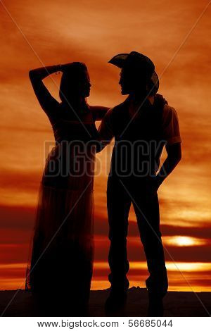 Cowboy Couple Stand Silhouette Her Hand On Head