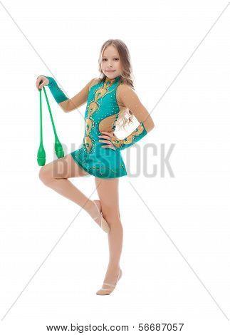 Pretty athlete in rhythmic gymnastics with mace