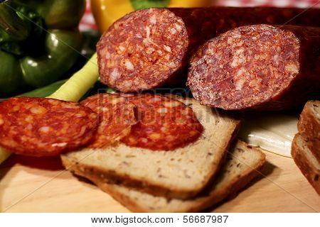 Meat sausage salami