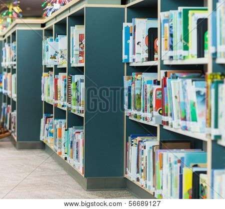 Bookshelves in school library