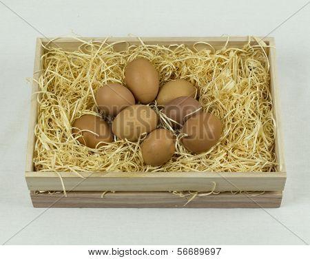 Eggs In Wooden Crate