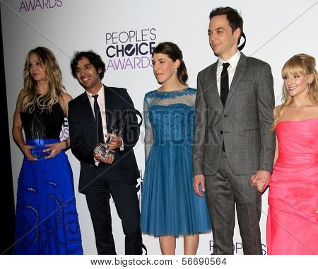 LOS ANGELES - JAN 8:  Kaley Cuoco, Kunal Nayyar, Mayim Bialik, Jim Parsons, Melissa Rauch at the People's Choice Awards 2014 - Press Room at Nokia at LA Live on January 8, 2014 in Los Angeles, CA