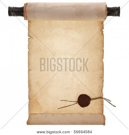 scroll ancient antique paper with a wax seal surface close up isolated on a white background