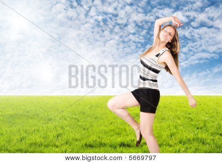 Young Woman Goes In For Sports On Nature