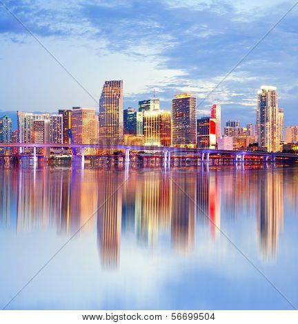 City of Miami Florida night skyline