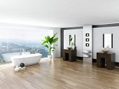 stock photo of bathroom sink  - Modern Bathroom interior with white bathtub against huge window with landscape view - JPG