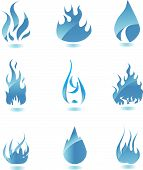 Blue glossy fire icon. Big set