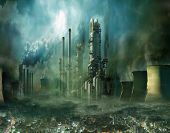 Composition of futuristic city with huge factory covered in dark clouds and smog pollution